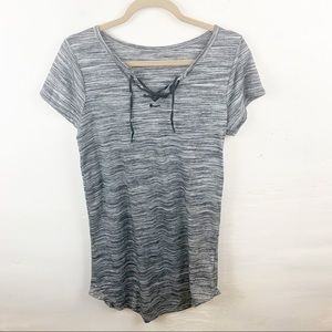 Woman's Grey Lace Up Mini T-shirt Dress